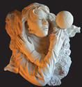 "RELEASING THE VEIL, plaster for bronze,23""x21""x9"""